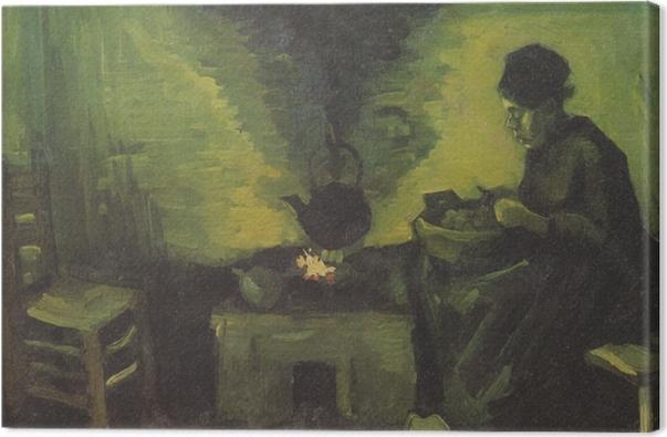 Leinwandbild Vincent van Gogh - Ländliche Frau durch den Herd - Reproductions