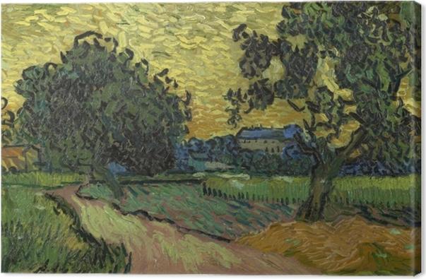 Leinwandbild Vincent van Gogh - Landschaft mit Schloss Auvers bei Sonnenuntergang - Reproductions