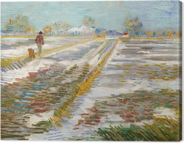 Leinwandbild Vincent van Gogh - Landschaft mit Schnee - Reproductions