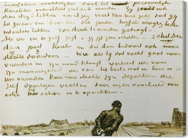 Leinwandbild Vincent van Gogh - Mann zieht eine Egge - Reproductions