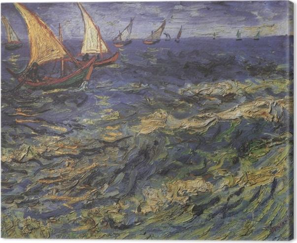 Leinwandbild Vincent van Gogh - Meerblick mit einem Segelboot - Reproductions