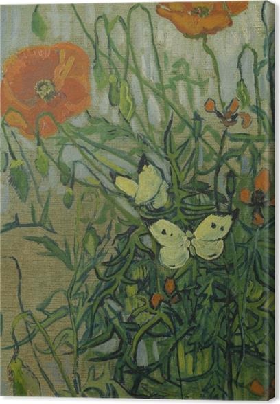 Leinwandbild Vincent van Gogh - Schmetterlinge und Mohnblumen - Reproductions