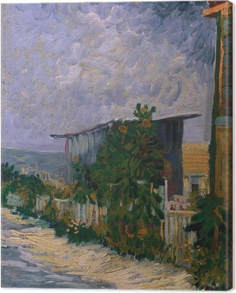 Leinwandbild Vincent van Gogh - Schuppen am Montmartre mit Sonnonblume - Reproductions