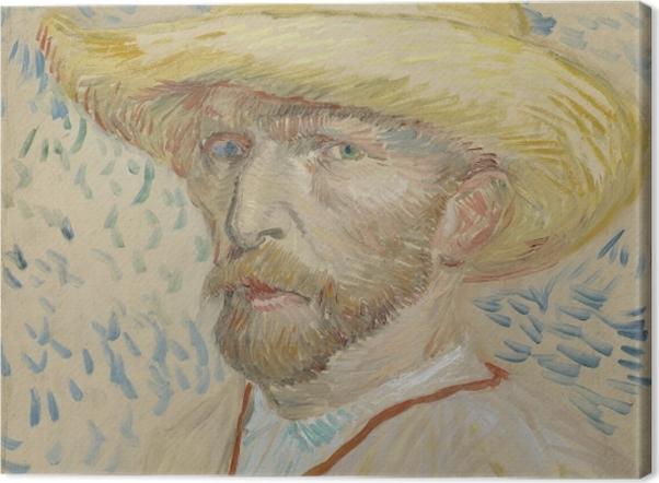 Leinwandbild Vincent van Gogh - Selbstbildnis mit Strohhut und Malerkittel - Reproductions
