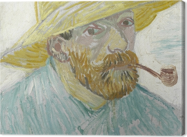 Leinwandbild Vincent van Gogh - Selbstbildnis mit Strohhut und Pfeife - Reproductions