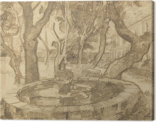 Leinwandbild Vincent van Gogh - Springbrunnen im Garten der Heilanstalt - Reproductions
