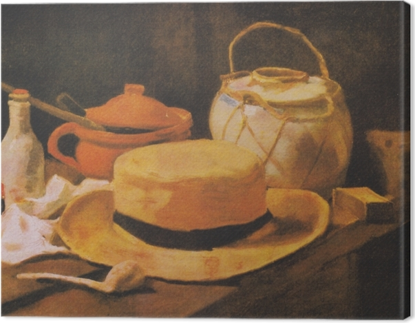 Leinwandbild Vincent van Gogh - Stillleben mit gelbem Strohhut - Reproductions