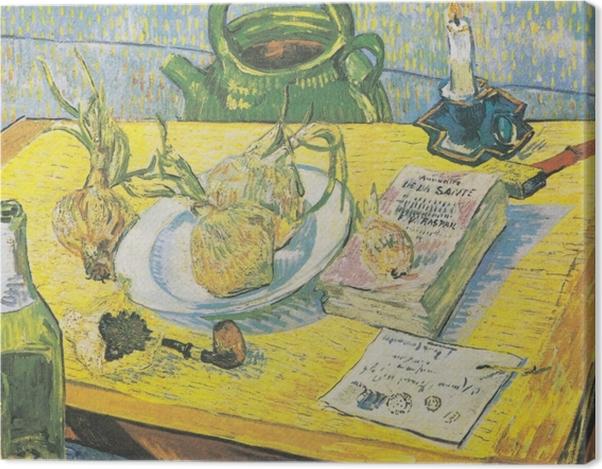 Leinwandbild Vincent van Gogh - Stillleben mit Zeichenbrett, Pfeife, Zwiebeln und Siegellack - Reproductions