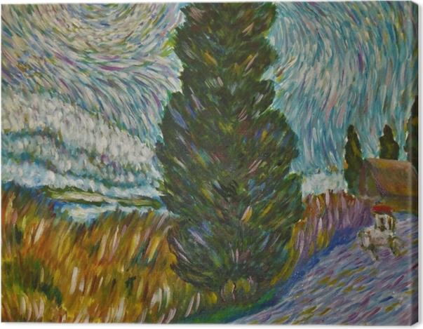 Leinwandbild Vincent van Gogh - Straße mit Zypresse und Stern - Reproductions