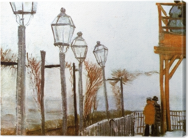 Leinwandbild Vincent van Gogh - Terrasse und Aussichtsplattform der Mühle Le blute-fin, Montmartre - Reproductions