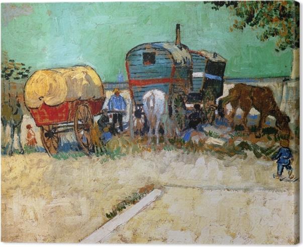Leinwandbild Vincent van Gogh - Zigeunerlager mit Pferdewagen - Reproductions