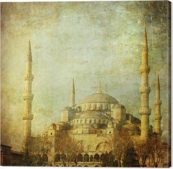 Leinwandbild Vintage Bild von der Blauen Moschee, Istambul