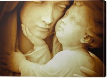 Leinwandbild Vintage Bild von der Jungfrau Maria Tragen Jesuskind