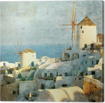 Leinwandbild Vintage Bild von Dorf Oia auf Santorini Insel, Griechenland
