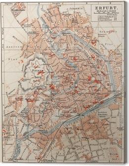 Leinwandbild Vintage Karte von Erfurt