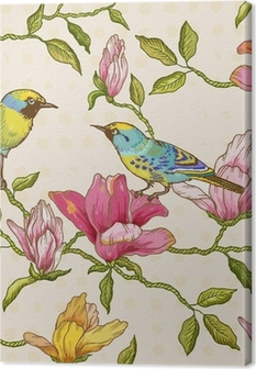 Leinwandbild Vintage nahtlose Hintergrund - Blumen und Vögel