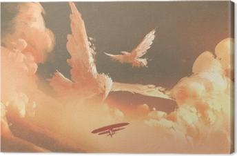 Leinwandbild Vögel formten Wolke im Sonnenunterganghimmel, Illustrationsmalerei