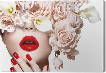 Leinwandbild Vogue-Stil-Modell Mädchen Gesicht mit Rosen. Red Sexy Lippen und Nägel.
