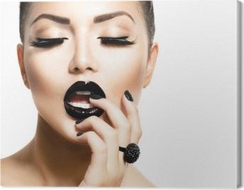 Leinwandbild Vogue Style Fashion Mädchen mit trendigen Caviar Black Manicure
