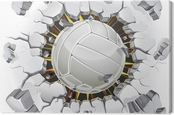 Leinwandbild Volleyball und alten Putz Wand Schaden. Vektor-Illustration