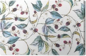 Leinwandbild Von Hand gezeichnet Aquarell nahtlose Verzierung mit Naturmotiven: Brombeere Zweige, Blätter und Beeren. Wiederholte dekorative Illustration, Grenze mit Beeren und Blätter