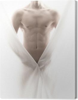 Leinwandbild Vor einem teilweise nackten männlichen Körper