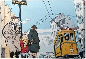 Leinwandbild Wandmalerei in Brüssel