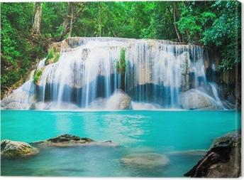 Leinwandbild Wasserfall im Dschungel in der Provinz Kanchanaburi, Thailand