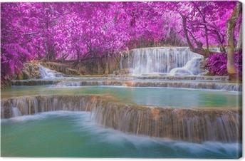 Leinwandbild Wasserfall in regen Wald (Tat Kuang Si Wasserfälle bei Luang Praba