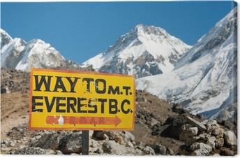 Leinwandbild Wegweiser Weg zum Everest BC montieren