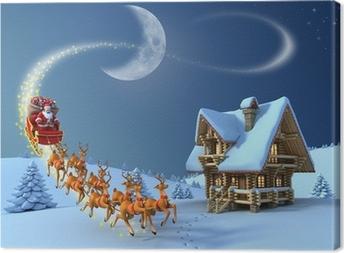 Leinwandbild Weihnachten Nacht Szene - Santa Claus reitet Rentierschlitten