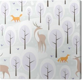 Leinwandbild Weihnachten nahtlose Muster mit dem Bild des Winterwald und wilde Tiere