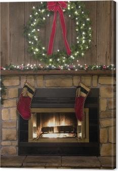 Leinwandbild Weihnachtskamin Hearth mit Kranz und Strümpfe