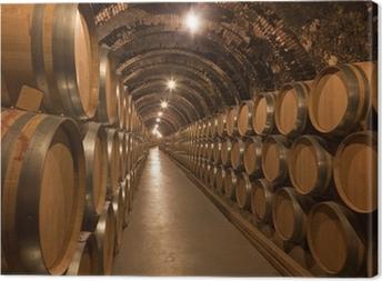 Leinwandbild Weinfässer im Keller
