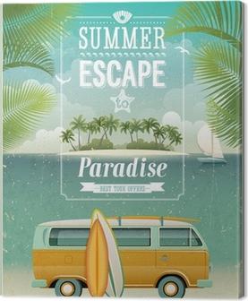 Leinwandbild Weinlese-Plakat mit Blick aufs Meer Surfen van. Vector Hintergrund.