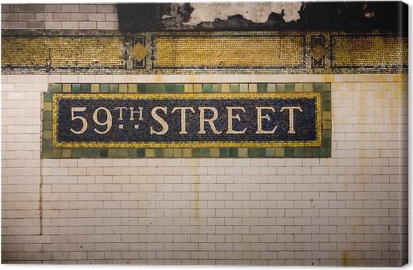 Leinwandbild Weinlese-U-Bahn-Fliese Wand, 59th Street, New York City ...