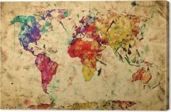 Leinwandbild Weinlese-Weltkarte. Bunte Farben, Aquarell auf Papier Grunge