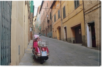 Leinwandbild Weinleseszene mit Vespa auf alte Straße, Siena, Italien