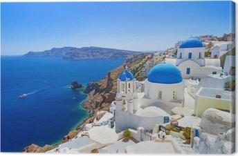 Leinwandbild Weiße Architektur in Santorini