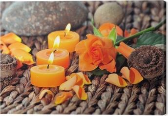 Leinwandbild Wellness Kerzen Dekoration