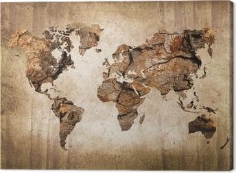 Leinwandbild Weltkarte aus Holz im Vintage-Stil
