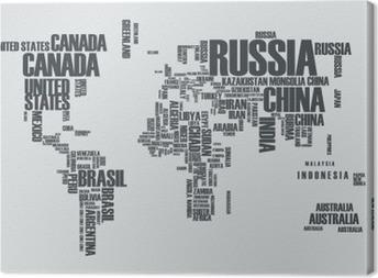 Leinwandbild Weltkarte: die Konturen des Landes besteht aus den Worten