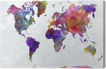 Leinwandbild Weltkarte in watercolorpurple und Blau