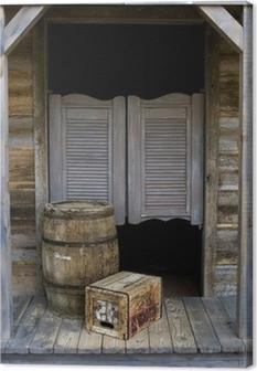 Leinwandbild Western Style Saloon mit Fass-und Box