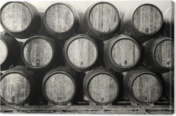 Leinwandbild Whisky oder Weinfässer in schwarz und weiß