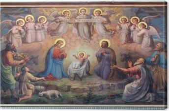 Leinwandbild Wien - Fresko der Krippe in der Karmeliterkirche