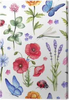 Leinwandbild Wilde Blumen und Insekten Illustrationen. Aquarell Sommer Muster