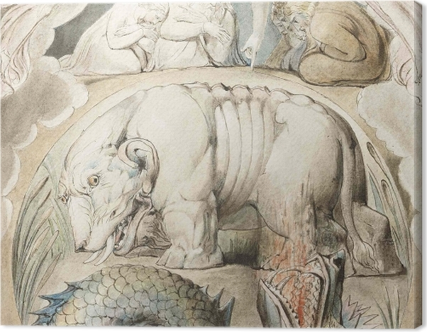 Leinwandbild William Blake - Behemoth und Leviathan - Reproduktion