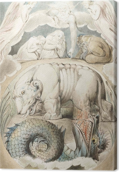 Leinwandbild William Blake - Behemoth und Leviathan - Reproduktion