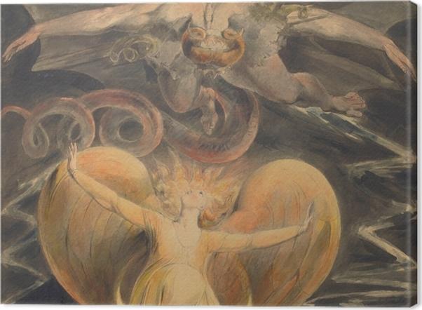 Leinwandbild William Blake - Der große rote Drache und die Frau, mit der Sonne bekleidet - Reproduktion